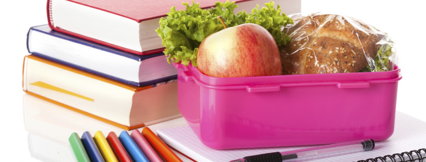 Lunch box and books