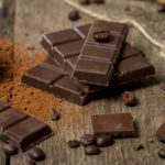 Cocoa Powder and Dark Chocolate on old wooden table