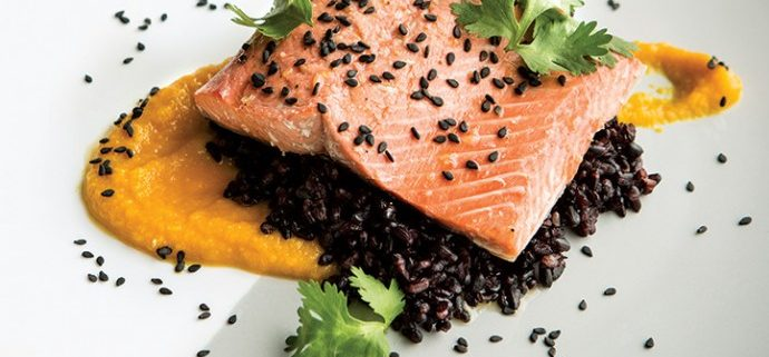Salmon with Black Rice and Carrot-Miso Sauc