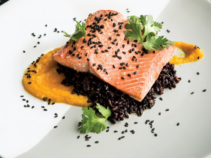 Salmon with Black Rice and Carrot-Miso Sauce